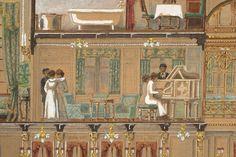 Secció longitudinal del vapor Reina Victòria Eugènia. Saló de música. Primera meitat s. XX. Autor desconegut. 10351 MMB