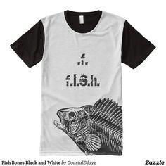 Fish Bones Black and White All-Over-Print T-Shirt