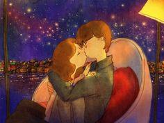 꿈만 같은 키스를 했어요.  The kiss was like a dream.