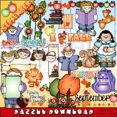 September clip art, school clip art, fall clip art, back to school, love fall