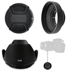 STOP Glare  Flare with the Professional PhotoEnthusiast Hood Set Includes 58mm Tulip Hood  Rubber Hood  Lens Cap  Lens Cap Keeper Be the Pro Photographer and Control Your Camera or Camcorder *** You can get more details by clicking on the image.