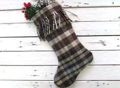 Wool Plaid Christmas Stockings, Blanket Plaid woodland Stockings, Rustic Plaid Christmas Stocking, crafted from a vintage stadium blanket Plaid Christmas Stockings, Plaid Stockings, Vintage Wool, Vintage Items, Christmas Crafts, Christmas Stuff, White Christmas, Recycled Fabric, Christmas Knitting