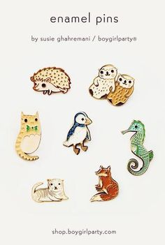 Enamel pins are here! Boygirlparty enamel pins are made by artist Susie Ghahremani exclusively for the Boygirlparty shop. Otters holding hands, cats in bowties, and white tiger pins are among the enamel pin options! Cute Otter, Otters Holding Hands, Cat Bow Tie, Unique Drawings, Kawaii, Cool Pins, Pin And Patches, Animal Jewelry, Stickers