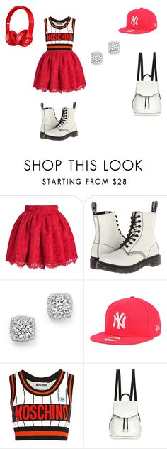 """""""bolder then you"""" by taaywhitee on Polyvore featuring Dr. Martens, Bloomingdale's, New Era, Moschino, rag & bone and Beats by Dr. Dre"""