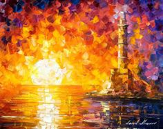 "Glimpse To The Sea — Palette Knife Seascape Sunset Oil Painting On Canvas By Leonid Afremov. Size: 24"" X 20"" Inches (60 cm x 50 cm)"