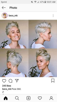 Hairstyles Best Picture For short grey hair going gray For Your Taste You are looking for something, Short Grey Hair, Short Hair Cuts, Style Short Hair Pixie, Edgy Short Hair Styles, Messy Pixie, Funky Hairstyles, Short Hairstyles For Women, Swept Back Hair, Cool Hair Color