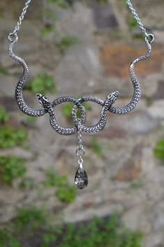 Double snake necklace silver, gothic necklace, black Swarovski crystal jewelry, entwined snakes necklace, snake jewelry by Valkyrie´s Song Snake Necklace, Snake Jewelry, Cute Jewelry, Short Necklace, Black Jewelry, Green Necklace, Swarovski Crystal Necklace, Silver Necklaces, Swarovski Crystals