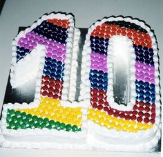 Simple cake design with colourful rainbow pattern of Smarties! Terrific for a 10 year old.