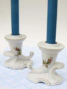 Two Moss Rose Pattern Cornucopia Porcelain by ThirdFloorRetro, $8.00