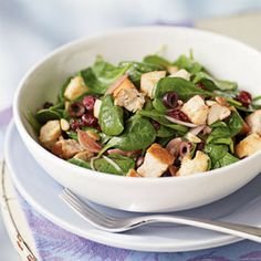 Bread Salad with Cranberries, Spinach, and Chicken by Cooking Light