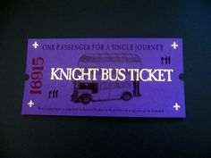 Harry Potter Knight Bus Ticket by LegendaryLetters on Etsy, $7.00