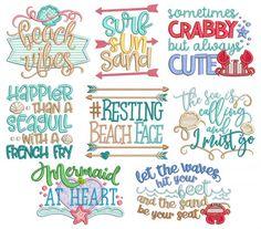 Beach Word Art Machine Embroidery Designs By JuJu Hand Embroidery Patterns Free, Machine Embroidery Projects, Embroidery Transfers, Embroidery Store, Learn Embroidery, Vintage Embroidery, Crewel Embroidery, Embroidery Files, Beach Words