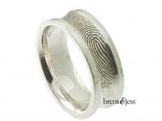 Custom 8mm Concave Fingerprint Ring - by Brent & Jess Custom Handmade Fingerprint Wedding Rings and Jewelry