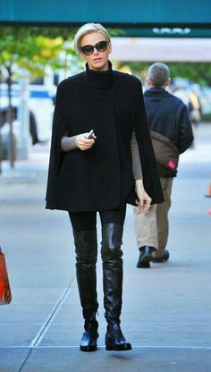 Over the knee boots and a cape