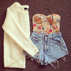 Floral bustier and high denim shorts. Perfect for my unnecessarily pierced navel.
