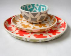 cereal bowl--turquoise and pale grey-ready to ship