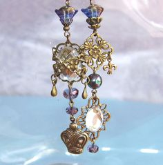 Vintage Style Assymetrical Long Earrings - Wedding, Evening Wear, Glamour