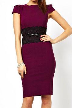 Elegant Round Neck Lace Embellished Cap Sleeve Dress For Women, WINE RED, L in Summer Dresses | DressLily.com