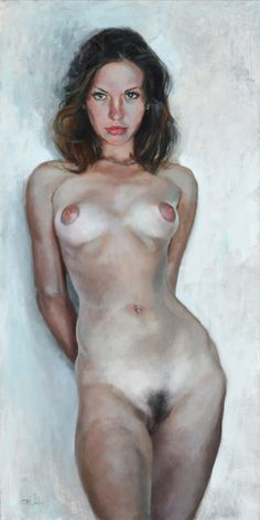 """wilsonartsales: """" """"Nude Elegance"""" by Eric Wallis. 30x15in. oil on panel completed in 2014. Purchase info: SOLD """""""