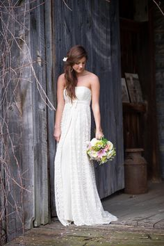 Wedding Dress: The Cotton Bride. See more on SMP:  http://www.StyleMePretty.com/new-england-weddings/2014/02/05/vintage-rustic-wedding-ideas/Tricia McCormack Photography