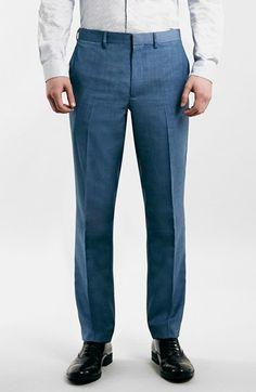 Free shipping and returns on Topman Blue Skinny Fit Suit Trousers at Nordstrom.com. Perfect your professional style without breaking the wallet. These clean, flat-front suit trousers in a light grey finish are tailored with a slim fit that still offers a touch of room.
