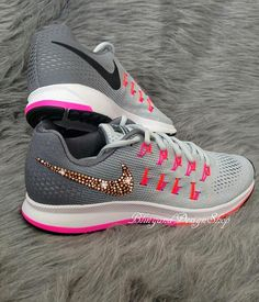 Items similar to Swarovski Bling Nike Air Zoom Pegasus 33 Women s Nike Shoes  Custom with Rose Gold Swarovski Crystal Rhinestones on Etsy 7658340098d6