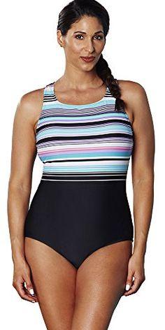 635e95b6ba8 Aquabelle Women's Plus Size Chlorine Resistant Dive High-Neck Swimsuit 26  Multi at Amazon Women's Clothing store: High Neck One PieceTrendy ...