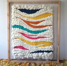 laine mèche wool roving Woven wool wall hanging on the loom // weaving by Jeannie Helzer Wool Wall Hanging, Weaving Wall Hanging, Wall Hangings, Weaving Textiles, Tapestry Weaving, Sewing Art, Sewing Crafts, Loom Weaving, Hand Weaving