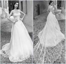 Vestido de novia Vintage Wedding Dresses Appliques Lace A Line Wedding Dresses 2015 Long Train Bridal Dresse casamento