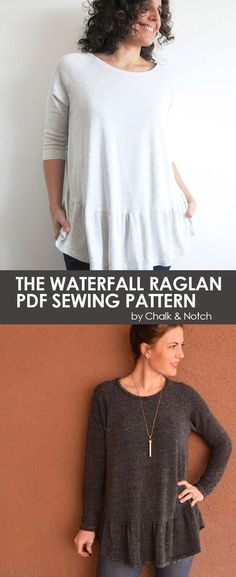 Easy Sewing Pattern || Women's Waterfall Raglan modern PDF sewing pattern by Chalk and Notch || available on http://UpCraftClub.com