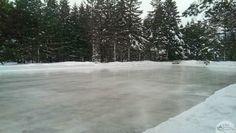 winter skating rink at algonquin's mew lake campground