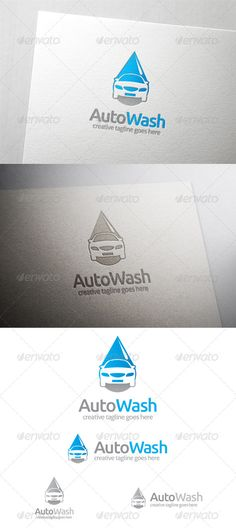 Auto Car Wash Logo  #GraphicRiver             All in the package : - Ai, EPS, PSD files - CMYK color mode - 100% vector file fully editable - Easy to edit text/fonts    Free fonts we use:    .dafont /infinite-justice.font   .fontsquirrel /fonts/Aller   Please rate if you buy and feels free to message me if you need to edit this item.