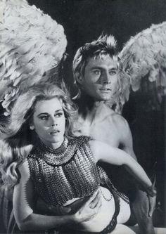 Jane FondaandJohn Phillip LawinBarbarella.RogerVadim. 1968.