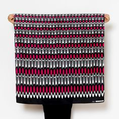 """Ruffle"" furoshiki textile in black, white and pink"