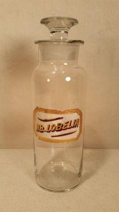 "Antique Vintage Apothecary Pharmacy Jar Stopper Round HB Lobelia 10"" Cool | eBay"