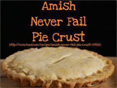 Never Fail Pie Crust Amish Never Fail Pie Crust. I made this and it was the best crust I've ever made!Amish Never Fail Pie Crust. I made this and it was the best crust I've ever made! Never Fail Pie Crust Recipe, Easy Pie Crust, Homemade Pie Crusts, Pie Crust Recipes, Amish Pie Crust Recipe, Pie Dough Recipe, Pie Crust Recipe Martha Stewart, Amish Apple Pie Recipe, No Fail Pie Crust