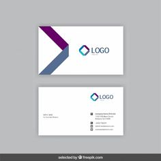 Business card with geometrical logo Free Vector