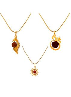 MENJEWELL RUDRAKASHA SPRITUAL MULTICOLOR GOLD PLATED SHANKH ,LORD SURYA & RUDRAKSHA STUDDED OM PENDANT COMBO FOR MEN & WOMEN