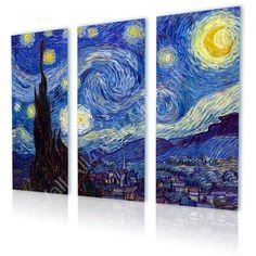 Canvas Print The Starry Night By Vincent van Gogh Set by All4Wall, $31.90