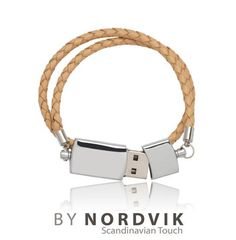 Scandinavian classic USB leather bracelet. The Scandinavian piece of design is made with real braided leather cord (4mm). Always wear your memories..