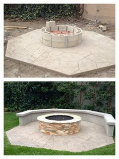 Backyard fire pit, progress and completion pictures. Proudly completed by 7 Point Construction.