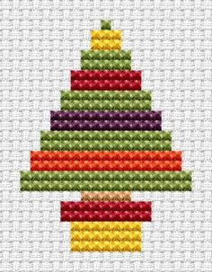 Cross Stitch Kits Fat Cat Cross Stitch - Easy Peasy - Christmas Tree -- so simple and cute. Many other patterns 6 pounds Cross Stitch Christmas Cards, Xmas Cross Stitch, Butterfly Cross Stitch, Cross Stitch For Kids, Simple Cross Stitch, Cross Stitch Kits, Cross Stitching, Cross Stitch Embroidery, Cross Stitch Beginner
