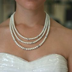 "David Tutero ""Olivia"" 3-row pearl necklace. Perfect gift for the bride on your list.  #sale #gift  # bridal  $63.00 http://www.victoriarosebridals.com/product/david-tutero-olivia-3-row-necklace/"