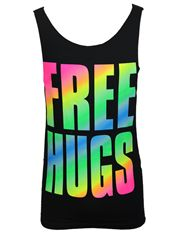 Free Hugs Neon Funny Cut Off Tank Tops @ Surfstyle.com