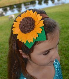 Felt Sunflower  Elastic Headband  Girls by ChinichiniBangBang