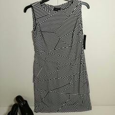 Tahari Black/White Stripe Dress size 6 NWT Tahari dress, size 6. 95% polyester 5% spandex. black and white zig zag stripes. tiered layers and hem are laser cut. never worn, new with tags. Tahari Dresses