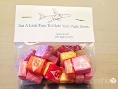 treats for fellow passengers when flying with baby/kids. Doing this!!!