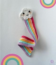 Cute Crochet Patterns Ravelry: Rainbow Bookmark pattern by Maro Kakali Marque-pages Au Crochet, Quick Crochet, Crochet Motifs, Crochet Cross, Crochet Gifts, Cute Crochet, Ravelry Crochet, Knitting Patterns, Crochet Patterns