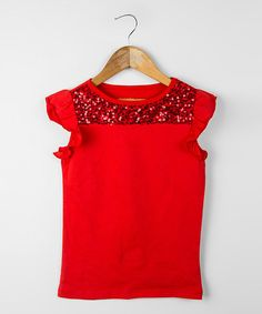 Another great find on Red Sequin Sparkle Sands Tee - Toddler & Girls by DownEast Basics Toddler Outfits, Toddler Girls, Girl Outfits, Cute Outfits, My Baby Girl, Girly Girl, Baby Kids Clothes, Girls Wear, Kids Fashion