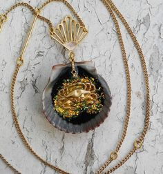 Golden Crab Shell Ocean Sea Pendant Gold Necklaces Jewelry by ObscuredOdditiess on Etsy